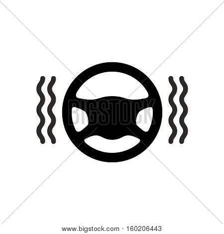 Driving wheel warmer icon. Black silhouette of car steering wheel with heat waves.