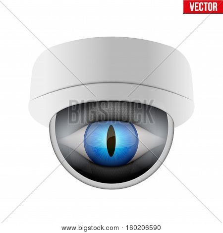 CCTV security camera with reptile eye. Technologies for monitoring and protection of territory. Vector Illustration isolated on white background.