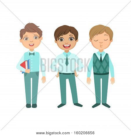 Boys In Blue Outfits Happy Schoolkids In Similar Collection School Uniforms Standing And Smiling Cartoon Character. Part Of Primary School Students In Dress Code Clothing Set Of Vector Illustrations.