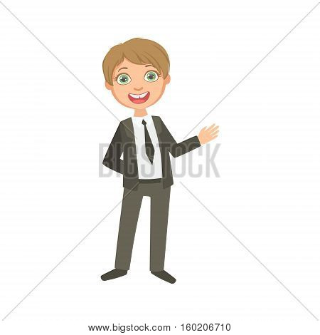 Boy In Classic Black Suit Happy Schoolkid In School Uniform Standing And Smiling Cartoon Character. Part Of Primary School Students In Dress Code Clothing Set Of Vector Illustrations.