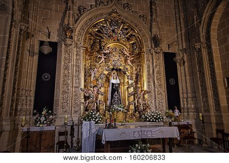 SALAMANCA, SPAIN - SEPTEMBER 24, 2013: Miraculous statue of Virgin Mary in Salamanca Cathedral Nuestra Senora de la Soledad.