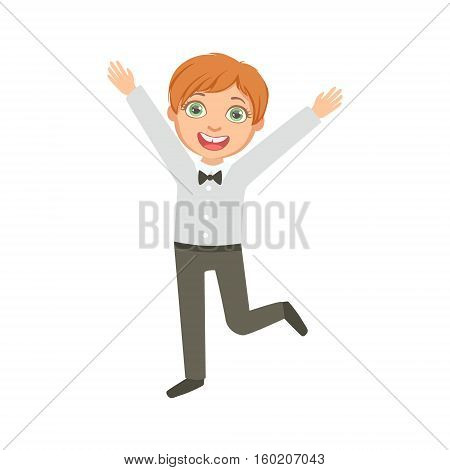 Boy In Black Trousers And Bow Tie Happy Schoolkid In School Uniform Standing And Smiling Cartoon Character. Part Of Primary School Students In Dress Code Clothing Set Of Vector Illustrations.
