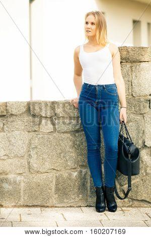 Fashionable Woman With Handbag