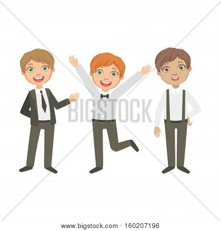 Boys In Black And White Outfits Happy Schoolkids In Similar Collection School Uniforms Standing And Smiling Cartoon Character. Part Of Primary School Students In Dress Code Clothing Set Of Vector Illustrations.