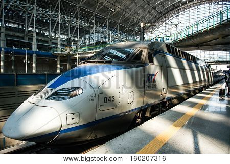 Gwangmyeong-si, South Korea - November 2, 2016: High-speed Bullet Trains (ktx) And Korail Trains Sto