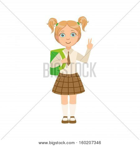 Girl In Chekered Skirt With Tie Happy Schoolkid In School Uniform Standing And Smiling Cartoon Character. Part Of Primary School Students In Dress Code Clothing Set Of Vector Illustrations.