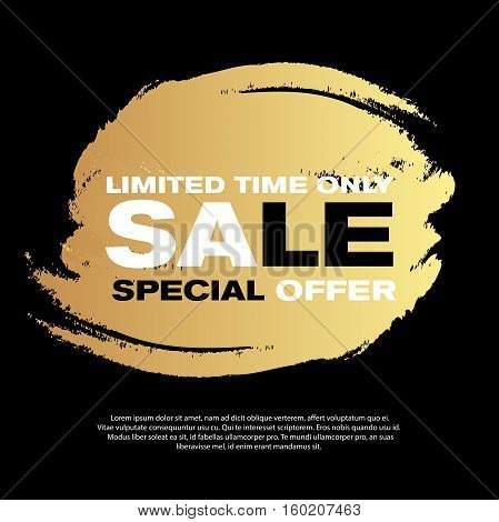 Vector sale banner design. Grunge golden discount background eps10