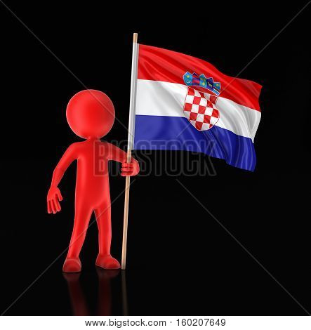 3D Illustration. Man and Croatian flag. Image with clipping path