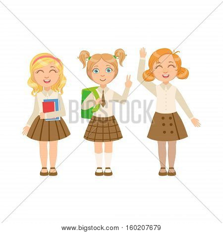 Girls In Brown Skirts Happy Schoolkids In Similar Collection School Uniforms Standing And Smiling Cartoon Character. Part Of Primary School Students In Dress Code Clothing Set Of Vector Illustrations.