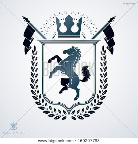 Luxury heraldic vector template. Vintage blazon created using horse illustration and royal crown