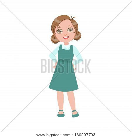 Girl In Blue Dress Happy Schoolkid In School Uniform Standing And Smiling Cartoon Character. Part Of Primary School Students In Dress Code Clothing Set Of Vector Illustrations.