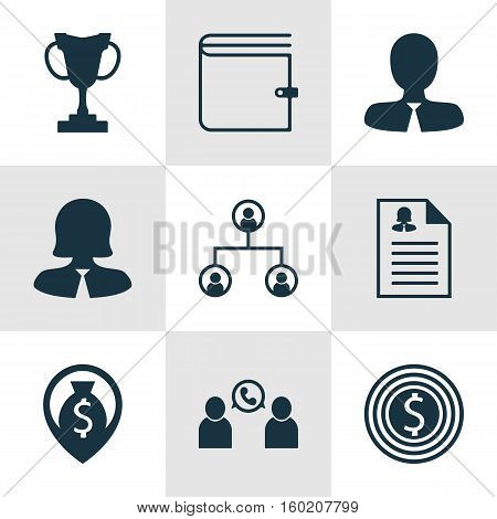 Set Of 9 Management Icons. Can Be Used For Web, Mobile, UI And Infographic Design. Includes Elements Such As Employee, Cup, Structure And More.