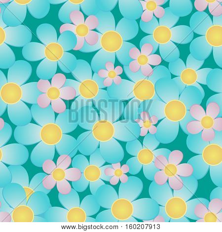 Seamless from flowers. Vector pattern on blue.