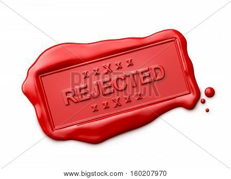 Wax seal with Rejected word isolated on white background - 3D Rendering