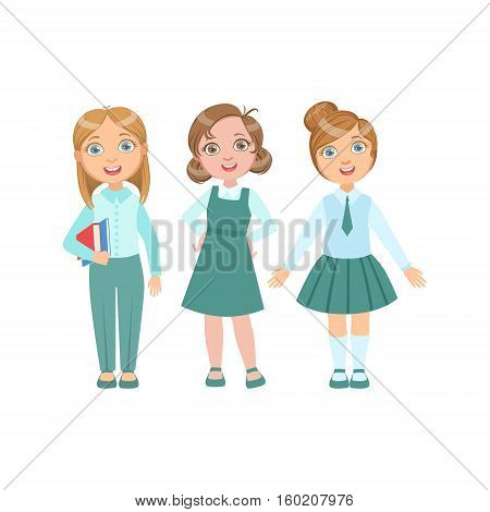 Girls In Blue Outfits Happy Schoolkids In Similar Collection School Uniforms Standing And Smiling Cartoon Character. Part Of Primary School Students In Dress Code Clothing Set Of Vector Illustrations.