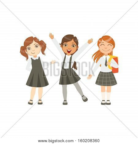 Girls In Black And White Outfits Happy Schoolkids In Similar Collection School Uniforms Standing And Smiling Cartoon Character. Part Of Primary School Students In Dress Code Clothing Set Of Vector Illustrations.
