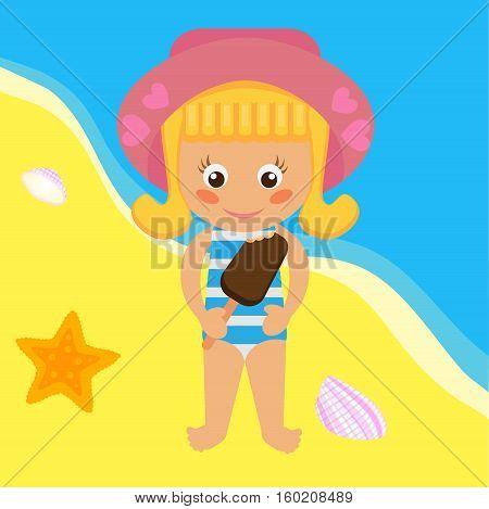 Girl on the beach with ice cream