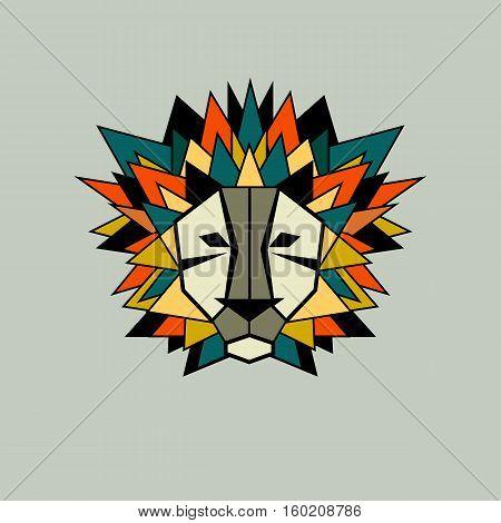 Lion. Vector icon logo. Stylized geometric animal head. Symbol of strength pride. Flat illustration Triangular mane