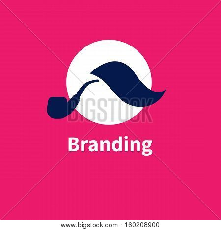 Logo branding Agency. Vector icon - moustache and Smoking pipe. Symbol of individuality and uniqueness recognizability of image.