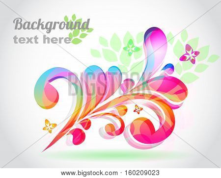 Summer background with butterfly with place for text.