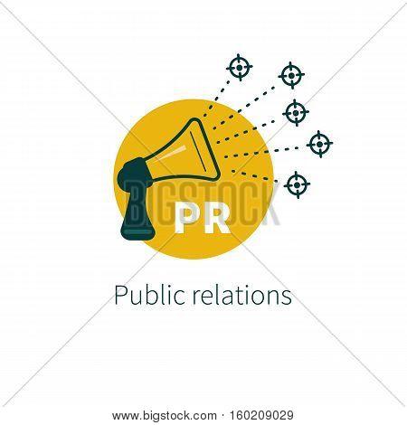 Public relations. Vector megaphone. Target audience. Logo communications Icon PR