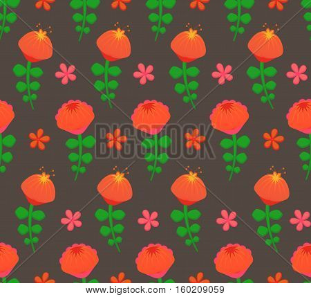 Seamless from flowers. Vector floral pattern on dark background.