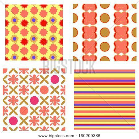 Set of four seamless. Different vector pattern.