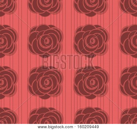 Seamless from roses. Vector pattern on dotted background.