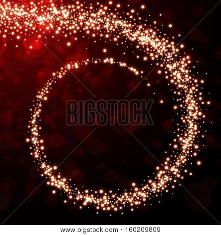 Abstract red Christmas background with spiral of lights. Vector illustration.