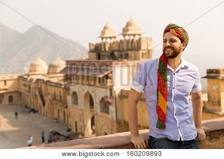 Tourist with turban in Amer Fort, Jaipur, India