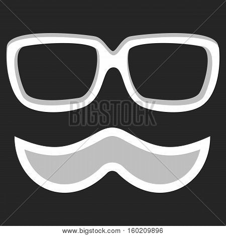 Hipster nerd glasses and stylish mustache on black. Web Banner Vector Flat Design. Vector Mustache and Glasses Icon. Hipster creative design template illustration