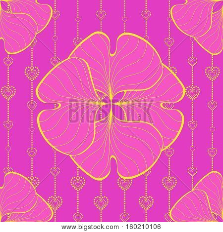Seamless with hearts. Pink vector pattern for your design.