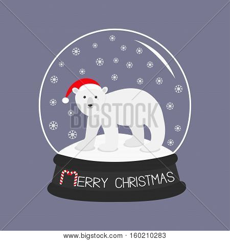 Arctic polar bear cub in red santa hat. Cute cartoon baby character. Crystal ball with snow. Merry Christmas card Candy cane text. Flat design Violet background. Vector illustration