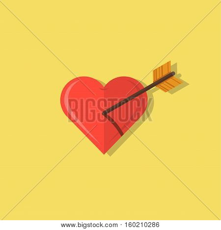 Abstract heart shot with an arrow flat design icon illustration