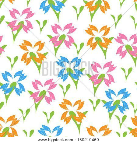 Seamless from abstract vector flowers on white.