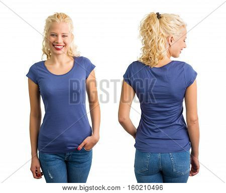 Woman in blue round neck T-shirt front and back view