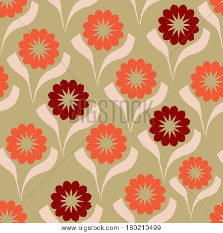 Retro floral seamless on the brown background.