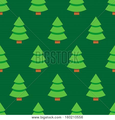 Abstract flat style seamless christmas pattern background with spruce christmas tree