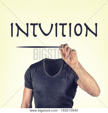 picture of a headless man with a intuition icon