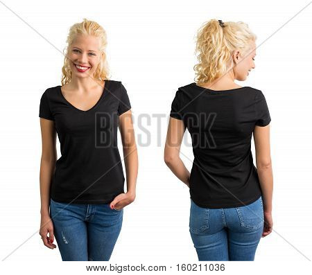 Woman in black v neck T-shirt front and back view