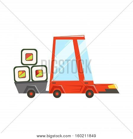 Fast Delivery Service Red Car With Trailer Full Of Japanese Sushi Rolls Going To Deliver Food. Cartoon Vector Illustration From The Collection Of Asian Food Takeout Company Process Of Office And Home Food Delivery.