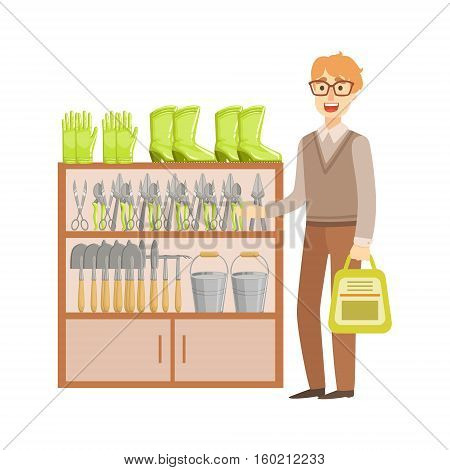 Man Shopping For Gardening Equipment, Shopping Mall And Department Store Section Illustration. Person Standing Next To Supermarket Showcase With Goods On The Shelf Smiling Cartoon Character.