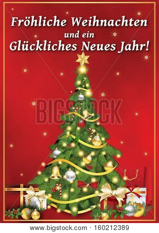 Frohliche Weihnachten und Gluckliches Neues Jahr! - German greeting card for Christmas and New Year. 'Merry Christmas and Happy New Year'. Print colors used.