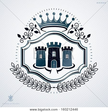 Vector Vintage Heraldic Coat Of Arms Created In Award Design And Decorated Using Imperial Crown And