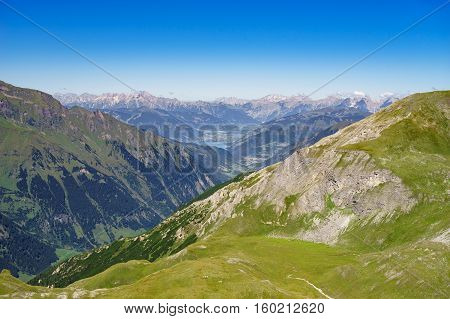 Austrian alps and Zell am See lake Austria