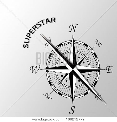 Illustration of superstar written aside a compass