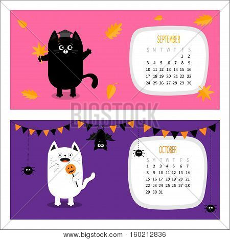 Cat calendar 2017 horizontal. Cute funny cartoon character set. September October autumn month. Orange leaf Graduation hat Academic Cap Bat spider flag pumpkin candy Happy Halloween Flat design Vector