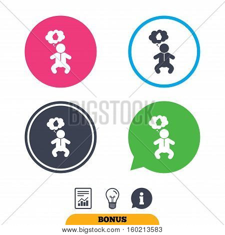 Baby infant think about food sign icon. Toddler boy in pajamas or crawlers body symbol. Report document, information sign and light bulb icons. Vector