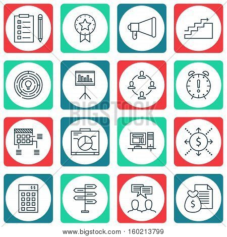 Set Of 16 Project Management Icons. Can Be Used For Web, Mobile, UI And Infographic Design. Includes Elements Such As Dashboard, Revenue, Deadline And More.