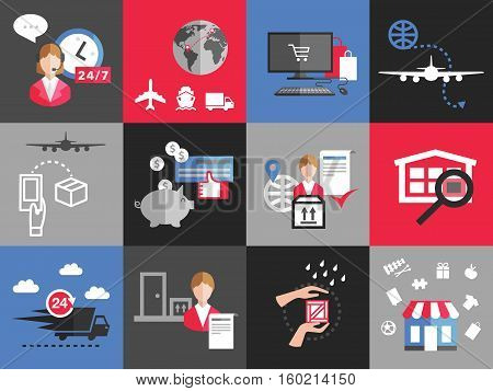 fast delivery service concept background flat vector